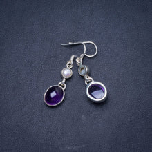 "Natural Amethyst and River Pearl Handmade Unique 925 Sterling Silver Earrings 1.5"" Y1146"