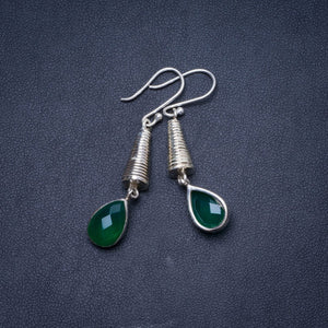 "Natural Chrysoprase Handmade Unique 925 Sterling Silver Earrings 2"" Y1149"