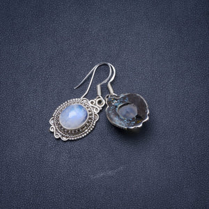 "Natural Moonstone Handmade Unique 925 Sterling Silver Earrings 1.25"" Y1169"