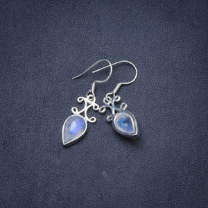 "Natural Moonstone Handmade Unique 925 Sterling Silver Earrings 1.25"" Y1196"