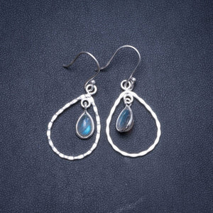 "Natural Labradorite Handmade Unique 925 Sterling Silver Earrings 1.5"" Y1204"