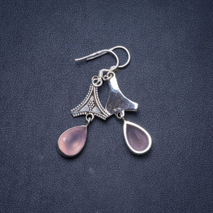 "Natural Rose Quartz Handmade Unique 925 Sterling Silver Earrings 1.75"" Y1233"
