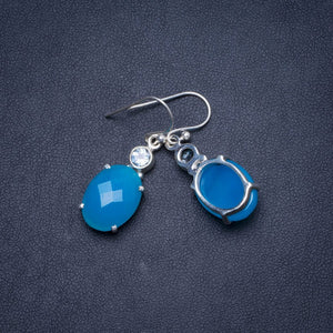 "Natural Chalcedony and Blue Topaz Handmade Unique 925 Sterling Silver Earrings 1.25"" Y1269"