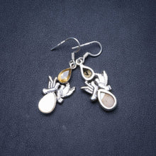 "Natural Mother Of Pearl and Citrine Handmade Unique 925 Sterling Silver Earrings 1.5"" Y1289"