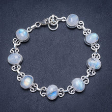 "Natural Rainbow Moonstone Handmade Unique 925 Sterling Silver Bracelet 7-7 1/2"" Y1307"