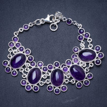 "Natural Amethyst Handmade Unique 925 Sterling Silver Bracelet 7 1/4-8"" Y1341"