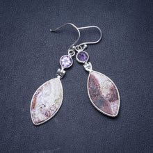 "Natural Crazy Lace Agate and Amethyst Handmade Unique 925 Sterling Silver Earrings 2.25"" Y1473"