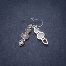 "Natural Rose Quartz and Garnet Handmade Unique 925 Sterling Silver Earrings 1.5"" Y1481"