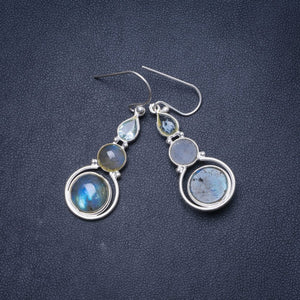 "Natural Blue Fire Labradorite and Blue Topaz Handmade Unique 925 Sterling Silver Earrings 1.75"" Y1486"