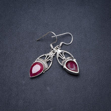 "Natural Simulated Cherry Ruby Handmade Unique 925 Sterling Silver Earrings 1.5"" Y1504"