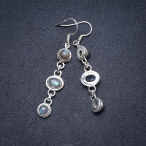 "Natural Blue Fire Labradorite Handmade Unique 925 Sterling Silver Earrings 2.25"" Y1510"