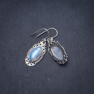 "Natural Rainbow Moonstone Handmade Unique 925 Sterling Silver Earrings 1.25"" Y1522"