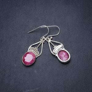 "Natural Simulated Cherry Ruby Handmade Unique 925 Sterling Silver Earrings 1.5"" Y1535"