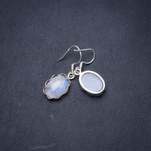 "Natural Rainbow Moonstone Handmade Unique 925 Sterling Silver Earrings 1.25"" Y1542"