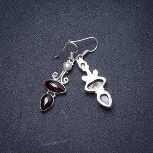 "Natural Amethyst and River Pearl Handmade Unique 925 Sterling Silver Earrings 1.75"" Y1548"