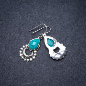 "Natural Turquoise Handmade Unique 925 Sterling Silver Earrings 1.5"" Y1554"