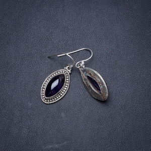 "Natural Amethyst Handmade Unique 925 Sterling Silver Earrings 1.25"" Y1571"