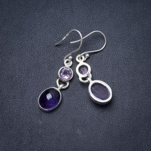 "Natural Amethyst Handmade Unique 925 Sterling Silver Earrings 1.5"" Y1641"
