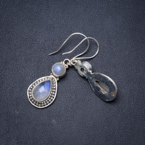"Natural Rainbow Moonstone Handmade Unique 925 Sterling Silver Earrings 1.5"" Y1675"