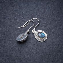"Natural Blue Fire Labradorite Handmade Unique 925 Sterling Silver Earrings 1.25"" Y1685"