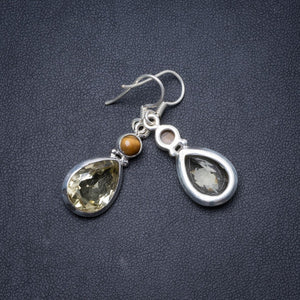 "Natural Green Amethyst and Tiger Eye Handmade Unique 925 Sterling Silver Earrings 1.5"" Y1694"