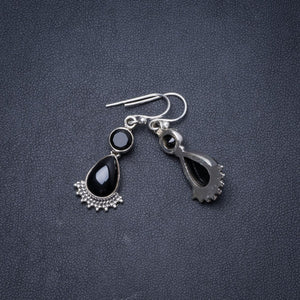 "Natural Black Onyx Handmade Unique 925 Sterling Silver Earrings 1.5"" Y1704"