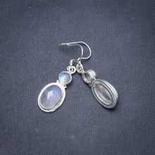 "Natural Rainbow Moonstone Handmade Unique 925 Sterling Silver Earrings 1.5"" Y1732"