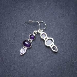 "Natural Amethyst Handmade Unique 925 Sterling Silver Earrings 1.5"" Y1782"