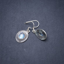 "Natural Rainbow Moonstone Handmade Unique 925 Sterling Silver Earrings 1.25"" Y1838"