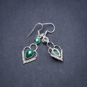 "Natural Malachite Handmade Unique 925 Sterling Silver Earrings 1.5"" Y1845"