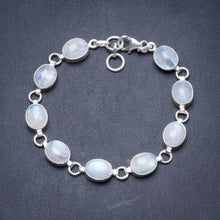 "Natural Rainbow Moonstone Handmade Unique 925 Sterling Silver Bracelet  7 1/4-7 3/4"" Y1978"