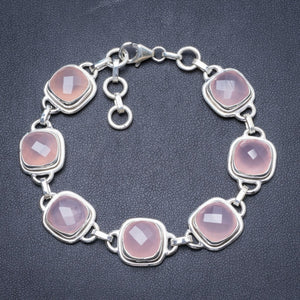 "Natural Chalcedony Handmade Unique 925 Sterling Silver Bracelet  7 1/4-8"" Y2009"