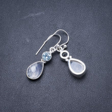 "Natural Rainbow Moonstone and Blue Topaz Handmade Unique 925 Sterling Silver Earrings 1 1/4"" Y2056"