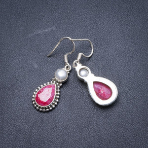 "Natural Cherry Ruby and River Pearl Handmade Unique 925 Sterling Silver Earrings 1 1/2"" Y2059"