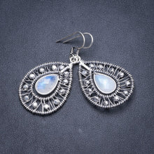 "Natural Rainbow Moonstone Handmade Unique 925 Sterling Silver Earrings 2"" Y2117"