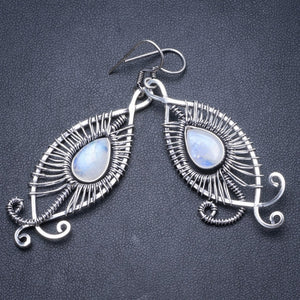 "Natural Rainbow Moonstone Handmade Unique 925 Sterling Silver Earrings 2 3/4"" Y2122"