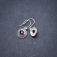 "Natural Amethyst Handmade Unique 925 Sterling Silver Earrings 1"" Y2126"
