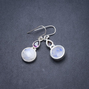 "Natural Rainbow Moonstone and Mystical Topaz Handmade Unique 925 Sterling Silver Earrings 1 1/2"" Y2181"