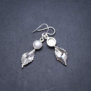 "Natural River Pearl Handmade Unique 925 Sterling Silver Earrings 1 3/4"" Y2183"