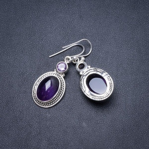"Natural Amethyst Handmade Unique 925 Sterling Silver Earrings 1 1/2"" Y2200"