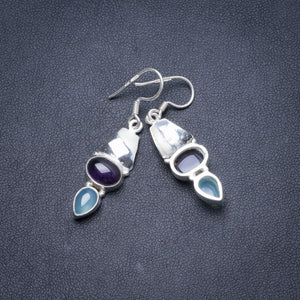 "Natural Amethyst and Chalcedony Handmade Unique 925 Sterling Silver Earrings 1 3/4"" Y2203"