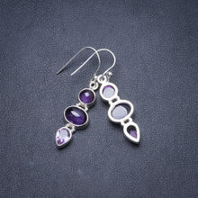"Natural Amethyst Handmade Unique 925 Sterling Silver Earrings 1 3/4"" Y2260"