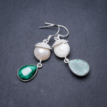 "Natural Malachite and River Pearl Handmade Unique 925 Sterling Silver Earrings 1 3/4"" Y2262"