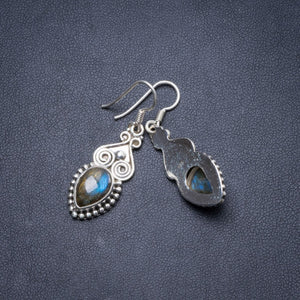 "Natural Labradorite  Handmade Unique 925 Sterling Silver Earrings 1 3/4"" Y2270"