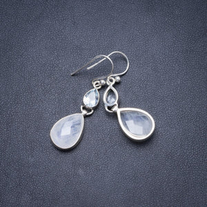 "Natural Rainbow Moonstone and Blue Topaz Handmade Unique 925 Sterling Silver Earrings 1 1/2"" Y2287"