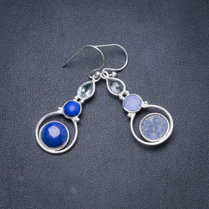 "Natural Lapis Lazuli and Green Amethyst Handmade Unique 925 Sterling Silver Earrings 1 3/4"" Y2321"
