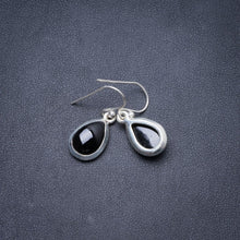 "Natural Black Onyx Handmade Unique 925 Sterling Silver Earrings 1"" Y2337"