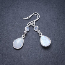 "Natural Rainbow Moonstone Handmade Unique 925 Sterling Silver Earrings 1 3/4"" Y2343"