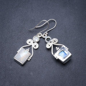 "Natural Rainbow Moonstone and Green Amethyst Handmade Unique 925 Sterling Silver Earrings 1 3/4"" Y2379"