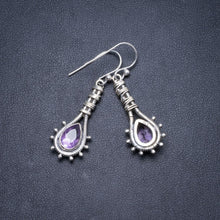 "Natural Amethyst Handmade Unique 925 Sterling Silver Earrings 1.5"" Y2444"